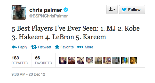 Chris Palmer's 5 best players ever