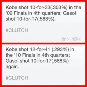 Kobe vs Gasol in the 4th quarter of the 2009 and 2010 NBA Finals